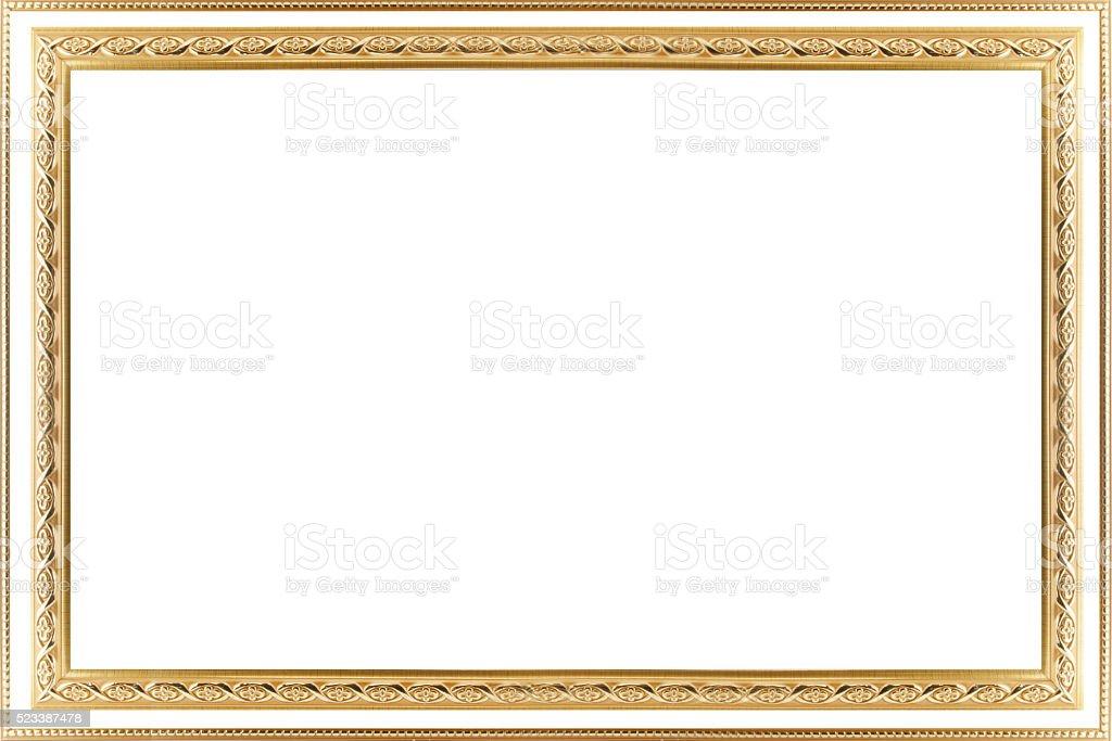 Classic vintage  gilded frame isolated on white background. stock photo