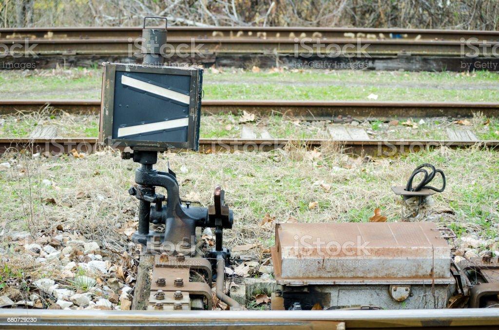 Classic vintage railway train points lever. Railway shunt. stock photo