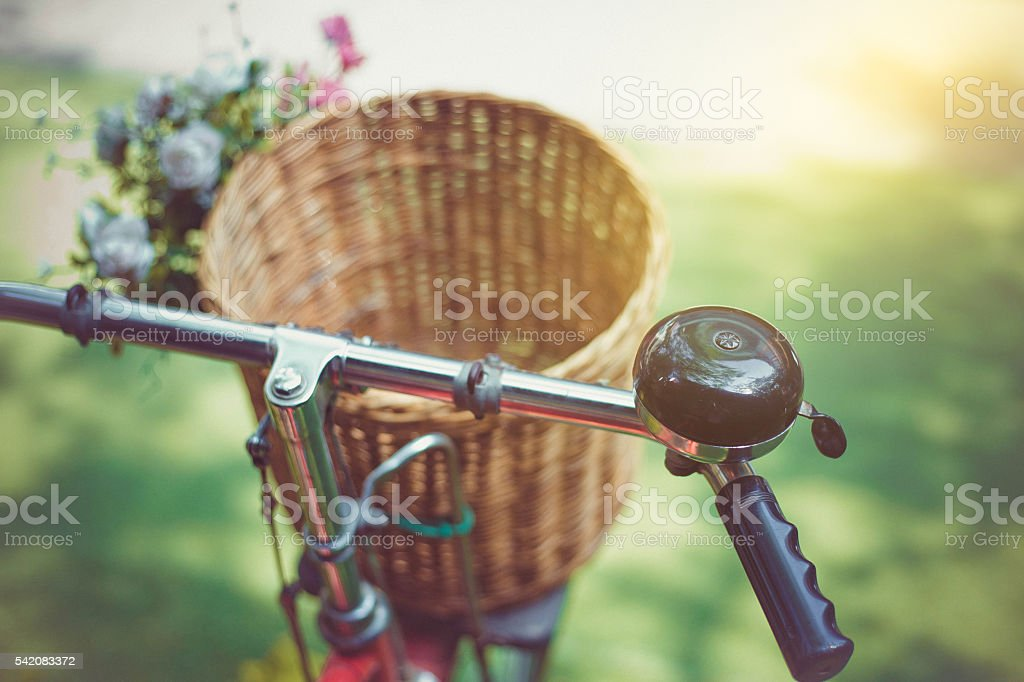 classic vintage style close up bicycle handlebars stock photo