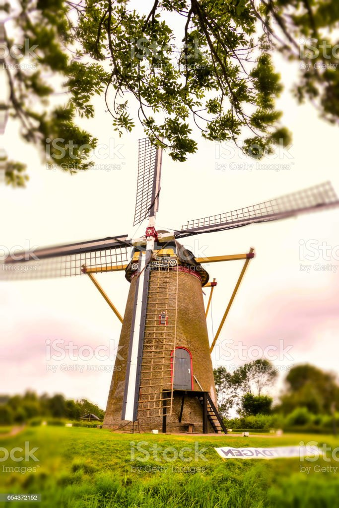 Classic Vintage Windmill in Holland stock photo