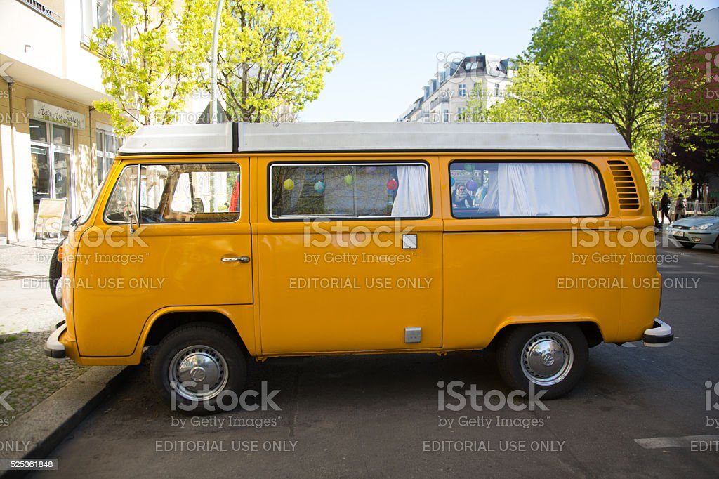 Berlin, Germany - April 21, 2016: classic Volkswagen van stock photo