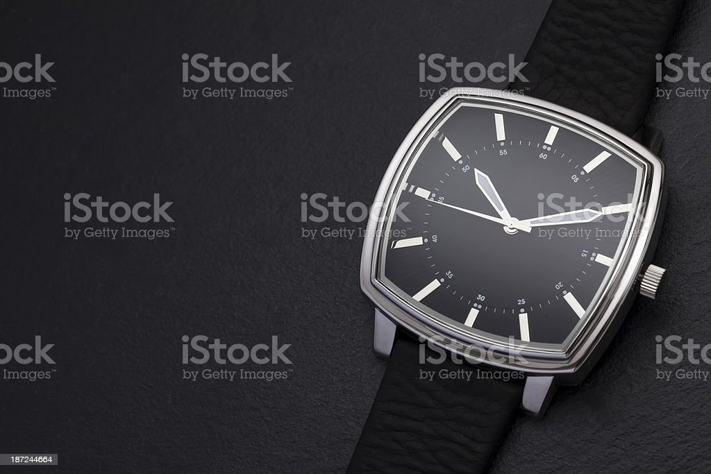Classic watch on black background stock photo