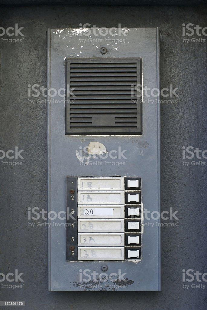 Classic Weathered Gray Intercom Buzzer royalty-free stock photo