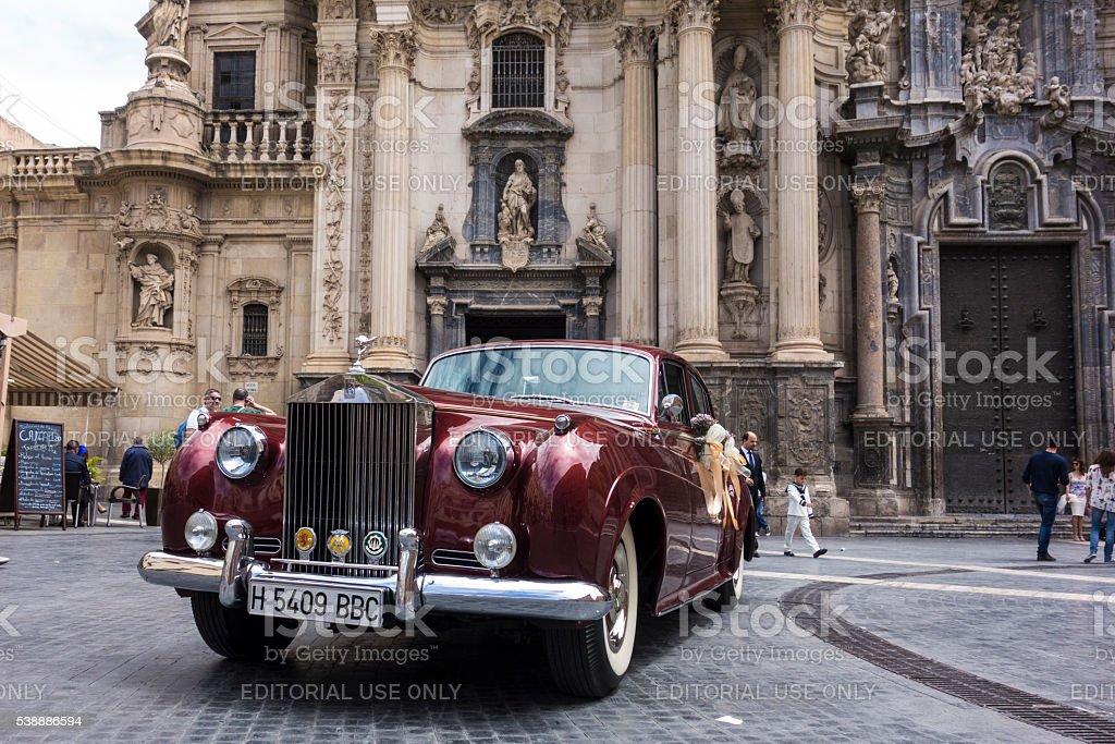 Classic wedding car stock photo