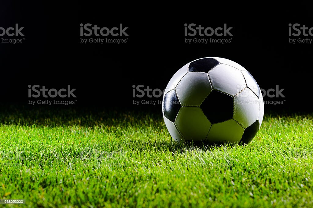 Classic white and black football ball stock photo