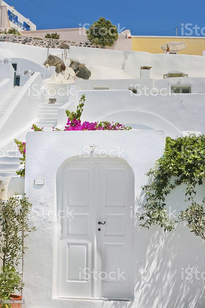 Classic white architecture of Santorini, Greece stock photo