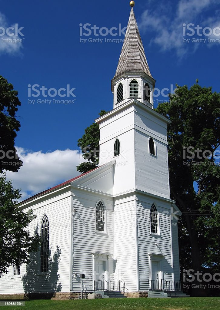 Classic White Country Church royalty-free stock photo