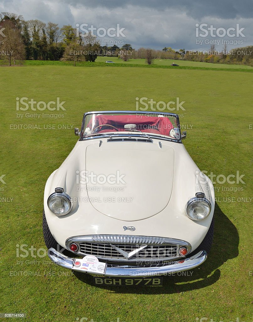 Classic white Daimler Dart SP250 Sports car stock photo