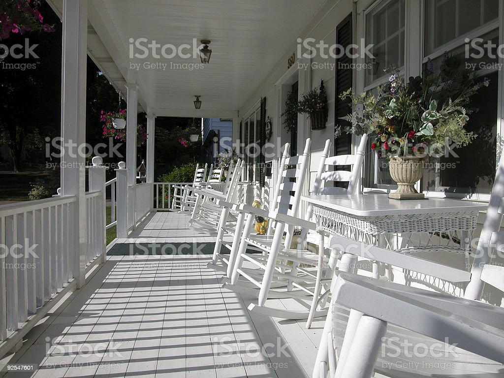 Classic White Front Porch royalty-free stock photo