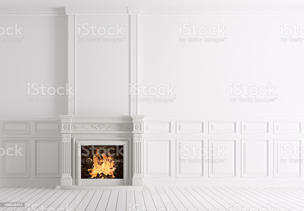 Classic white interior of room with fireplace 3d stock photo