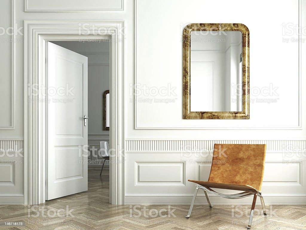 classic white interior whit mirrors stock photo
