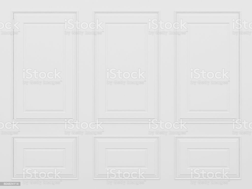classic white wall ,3d render stock photo