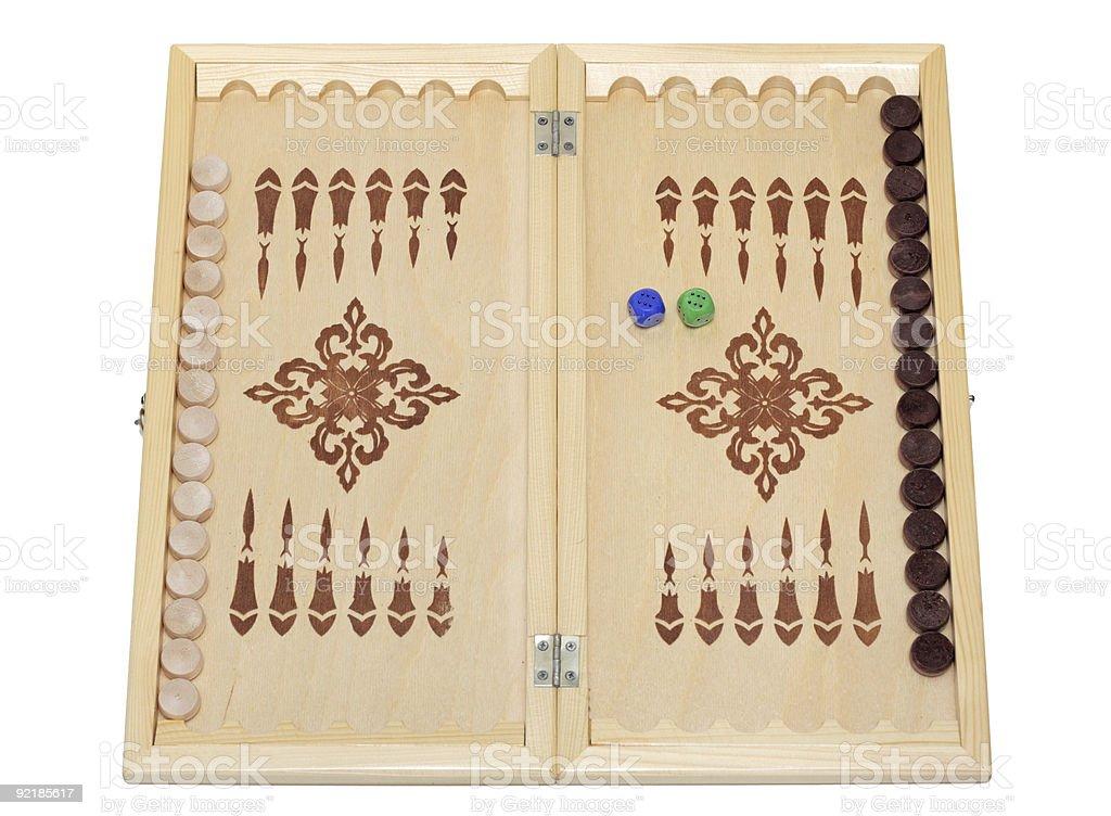 Classic wood backgammon box, isolated royalty-free stock photo