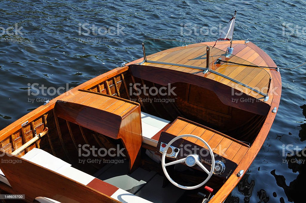 Classic wooden boat stock photo