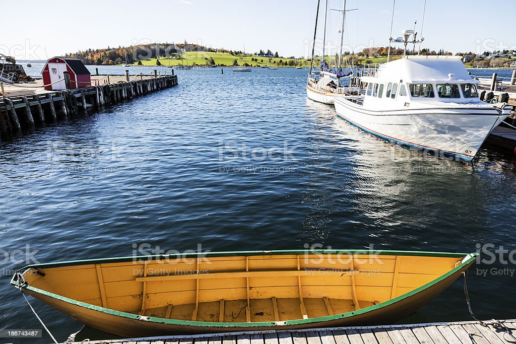 Classic wooden Dory in a Nova Scotia Fishing Village royalty-free stock photo