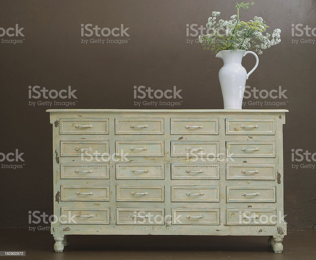 Classic wooden dresser stock photo