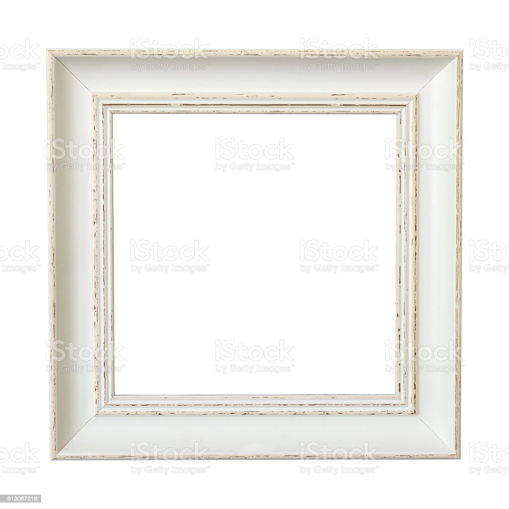 Classic wooden frame isolated on white stock photo