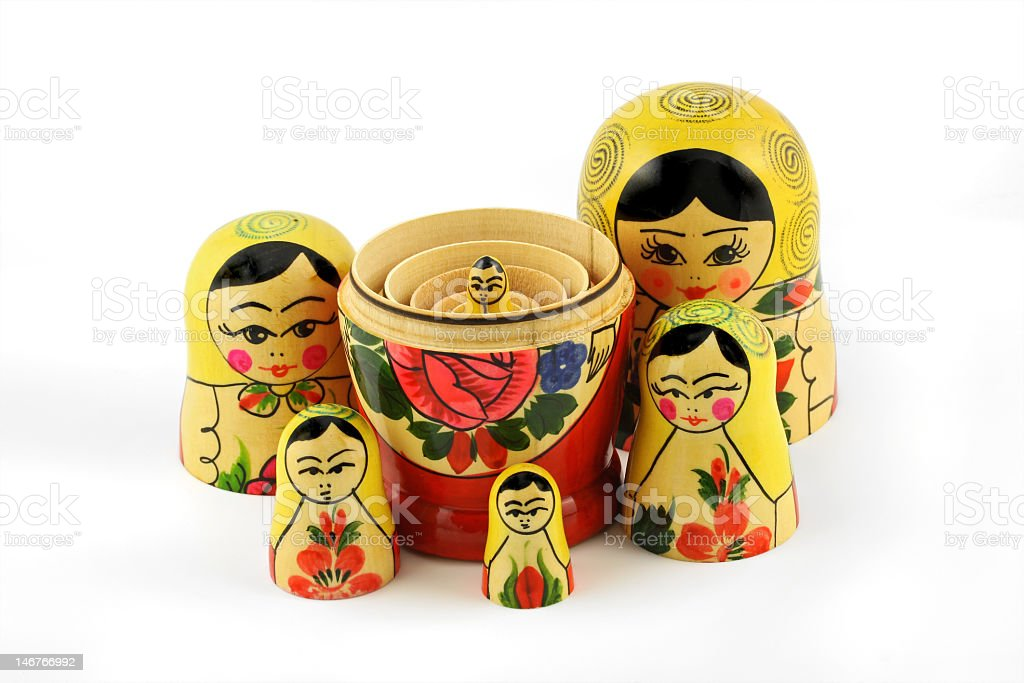 Classic wooden Russian nesting dolls royalty-free stock photo