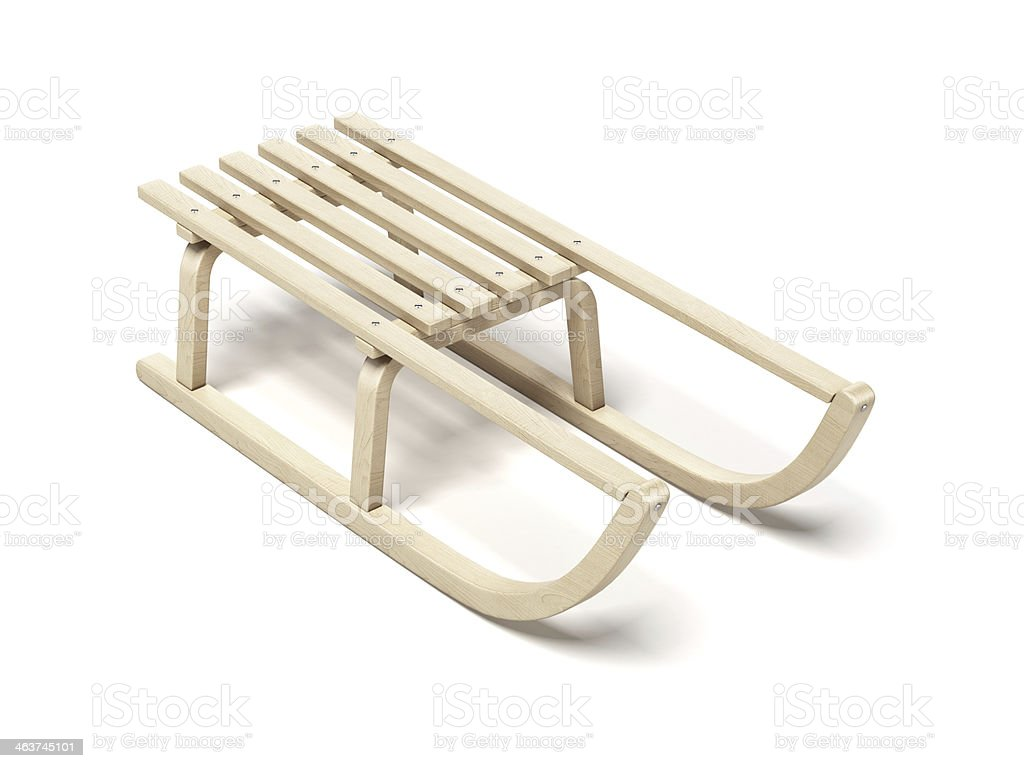 Classic wooden sled stock photo