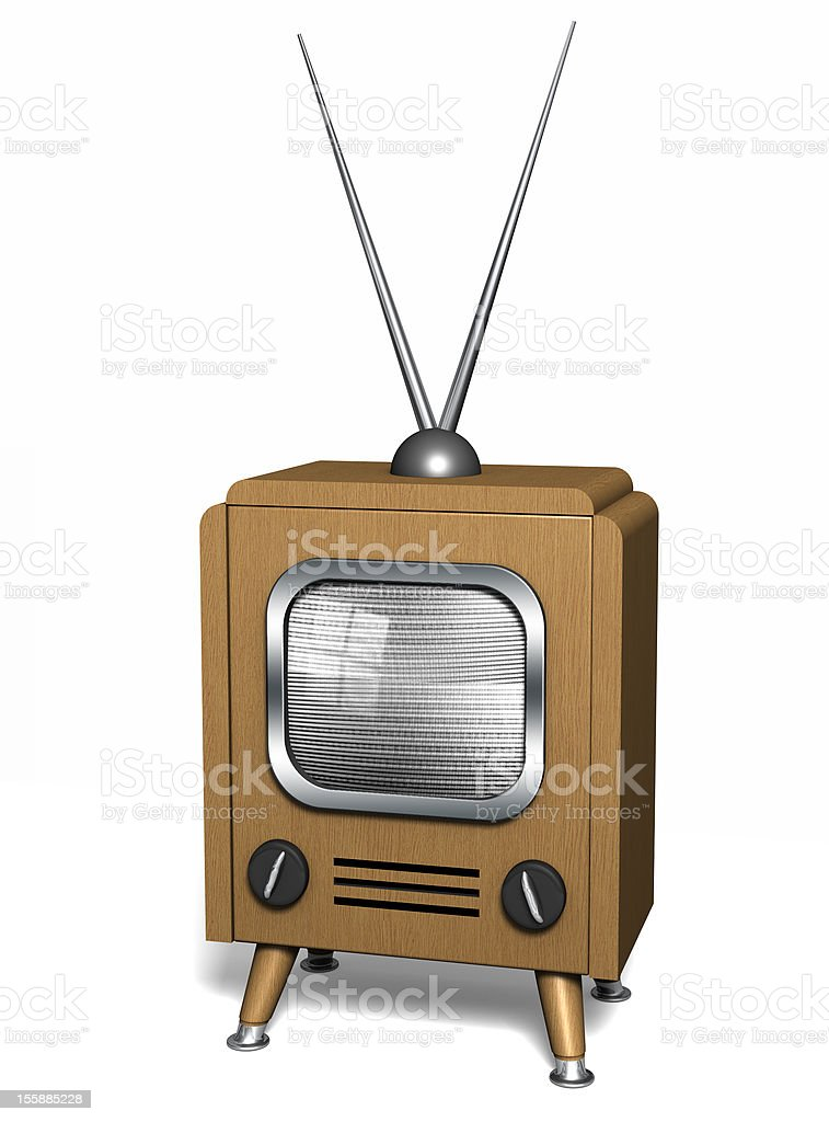 Classic Wooden TV. stock photo