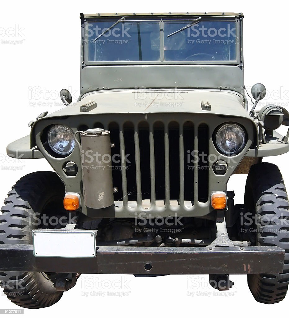 Classic WWII Military Jeep Closeup royalty-free stock photo
