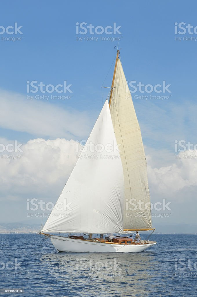 Classic yacht during a competition royalty-free stock photo