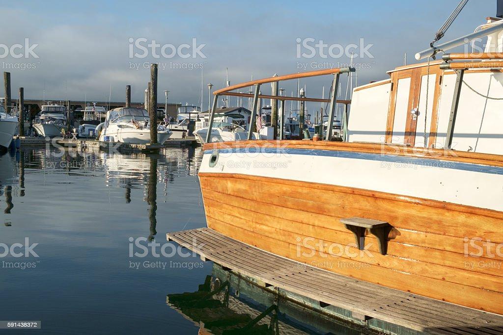 Classic yacht stern stock photo