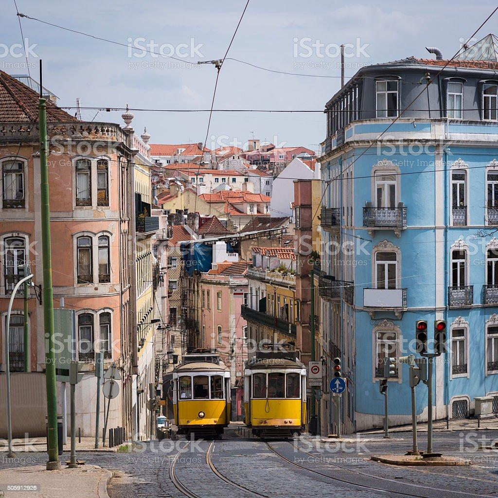 Classic yellow Lisbon Tram stock photo