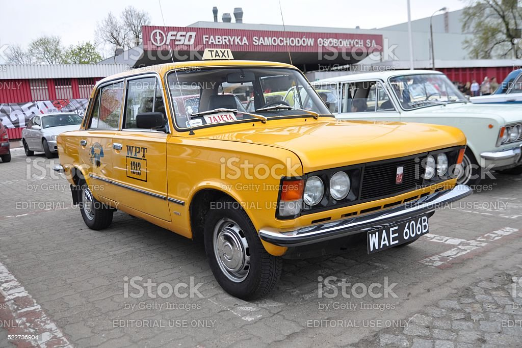 Classic yellow taxi for tourists stock photo