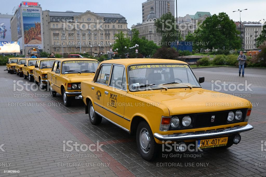 Classic yellow taxis for tourists stock photo