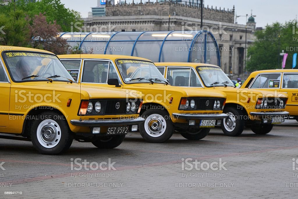 Classic yellow taxis stock photo