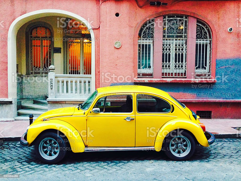 Classic Yellow Volkswagen Beetle stock photo