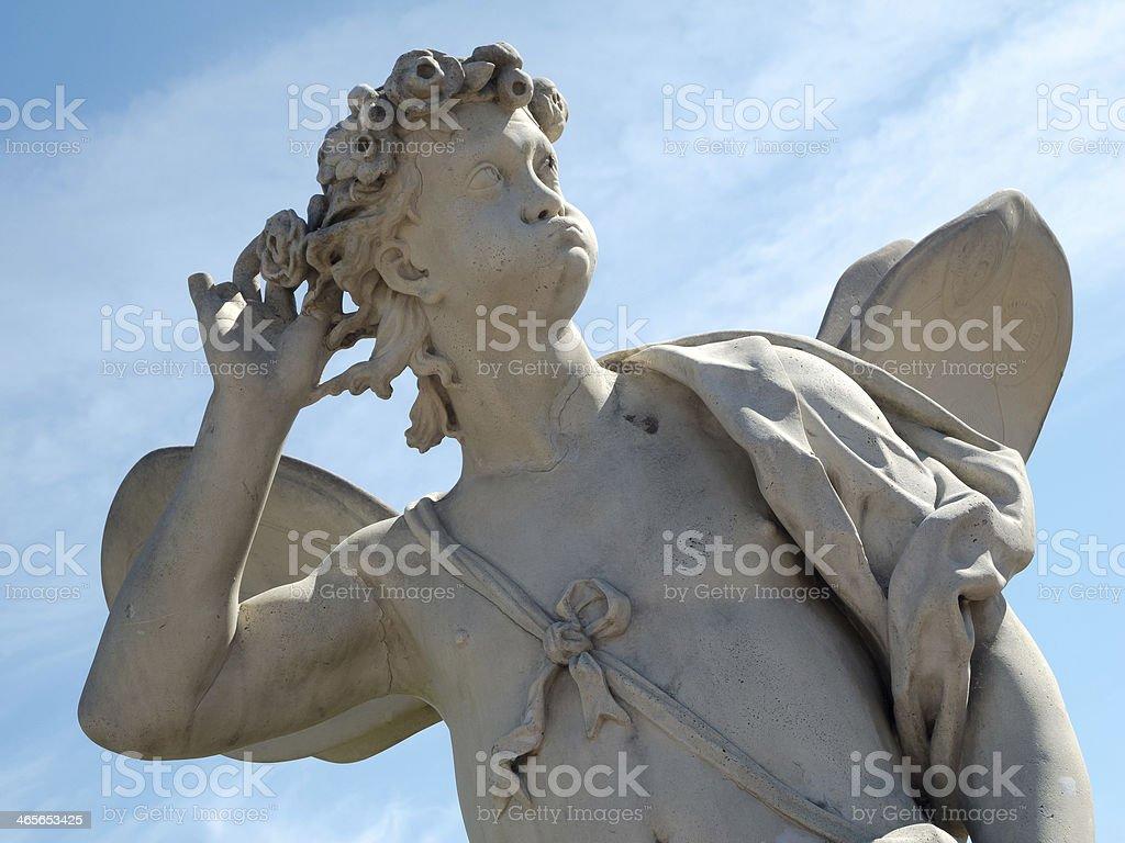 Classic Zephyrus statue at The Upper Garden, Peterhof stock photo
