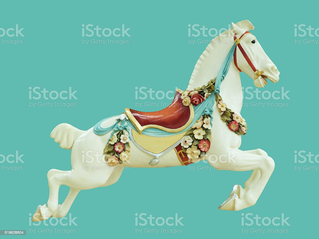 Classical Antique Style Child and Baby Toy Carousel Horse stock photo