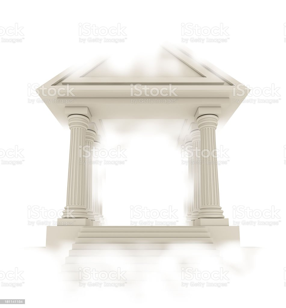 Classical architecture building in clouds stock photo