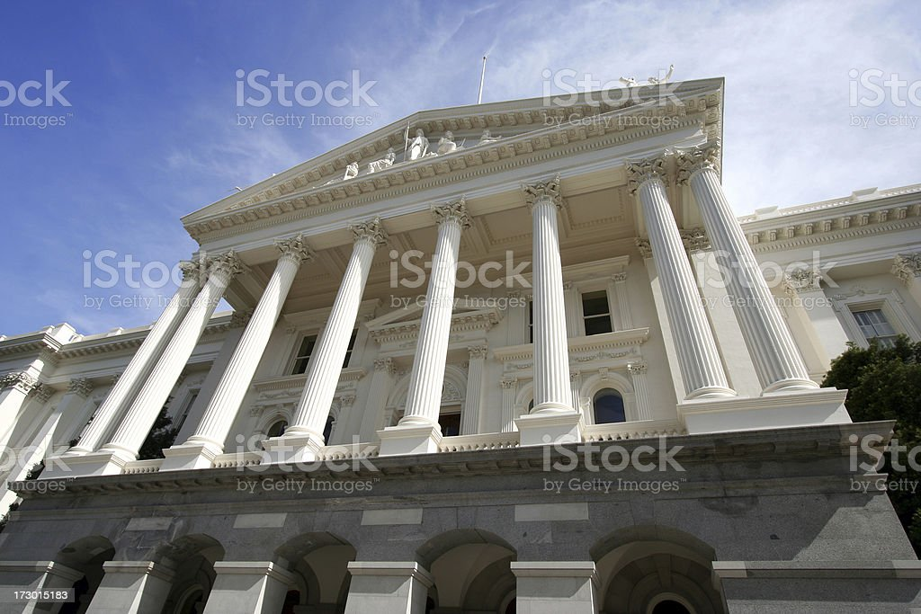\'The Neo-Classical portico faAade on the California State Capitol...