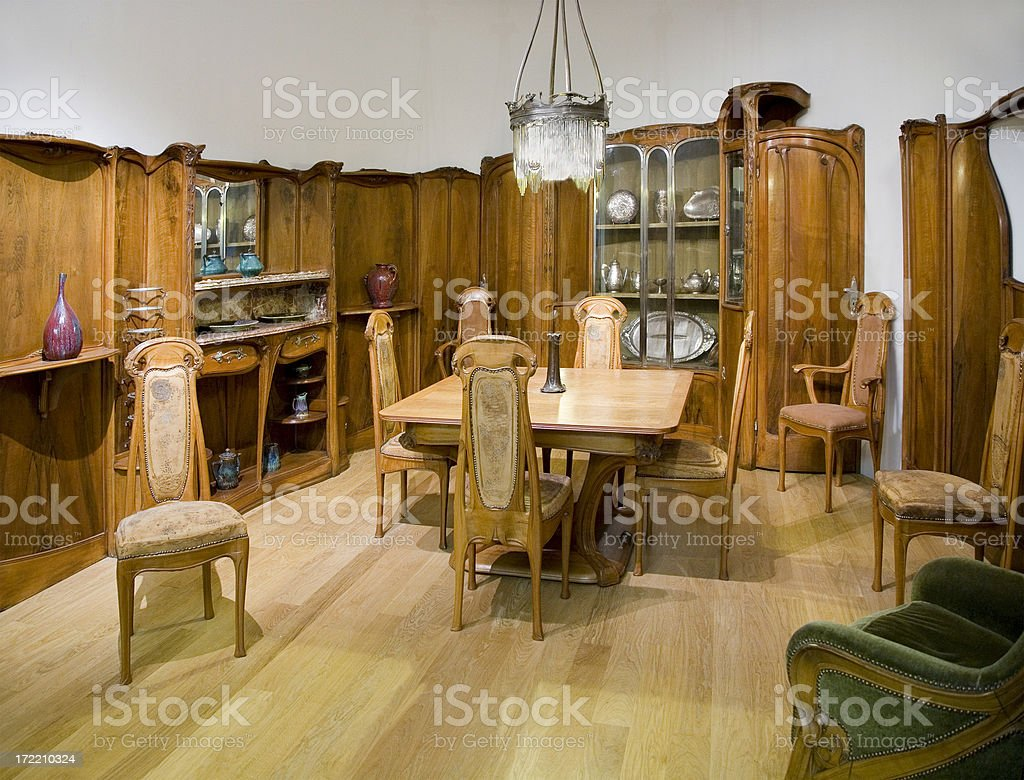 Classical Art Nouveau dining room royalty-free stock photo