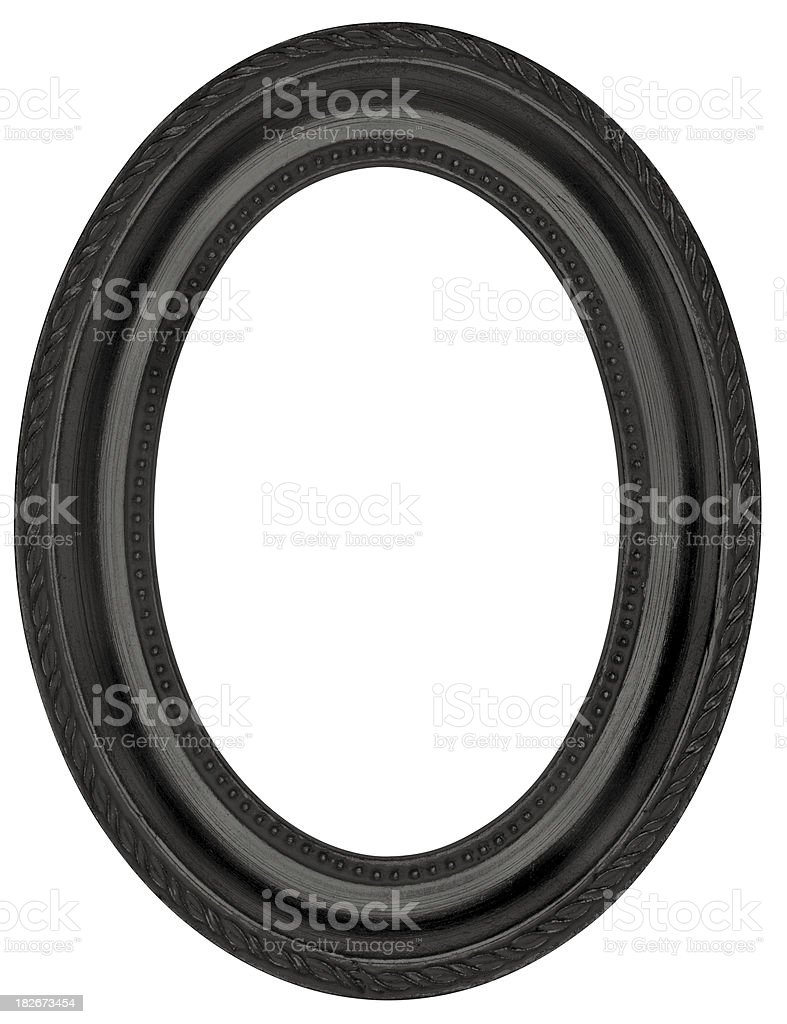 Classical Black Ebony Oval Picture Frame. Isolated with Clipping Path stock photo
