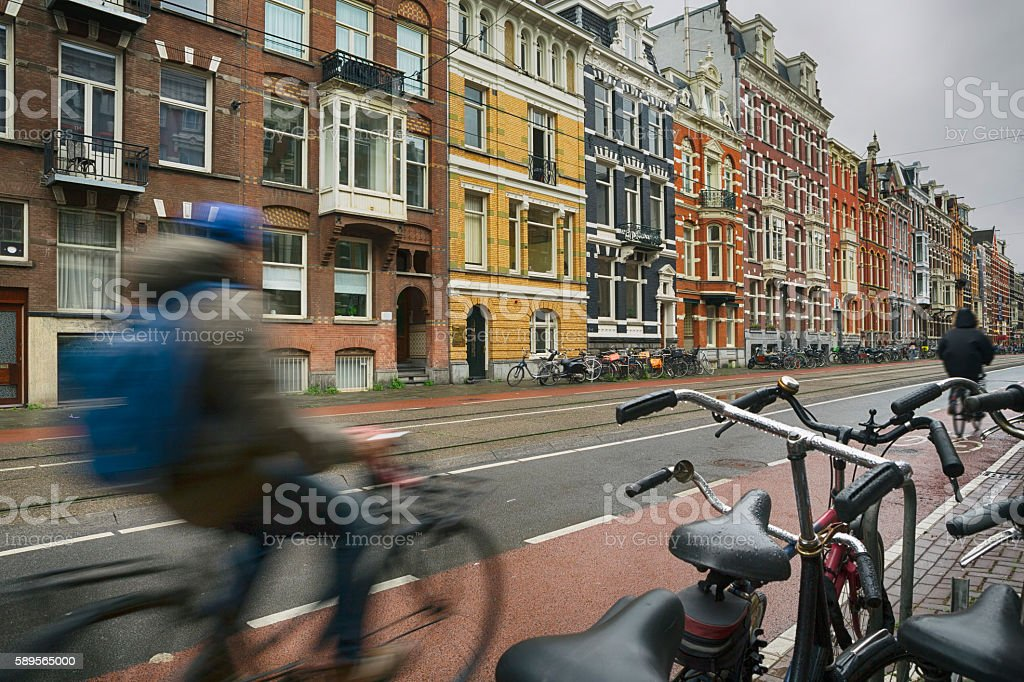 Classical Buildings and Bicycles in Amsterdam stock photo
