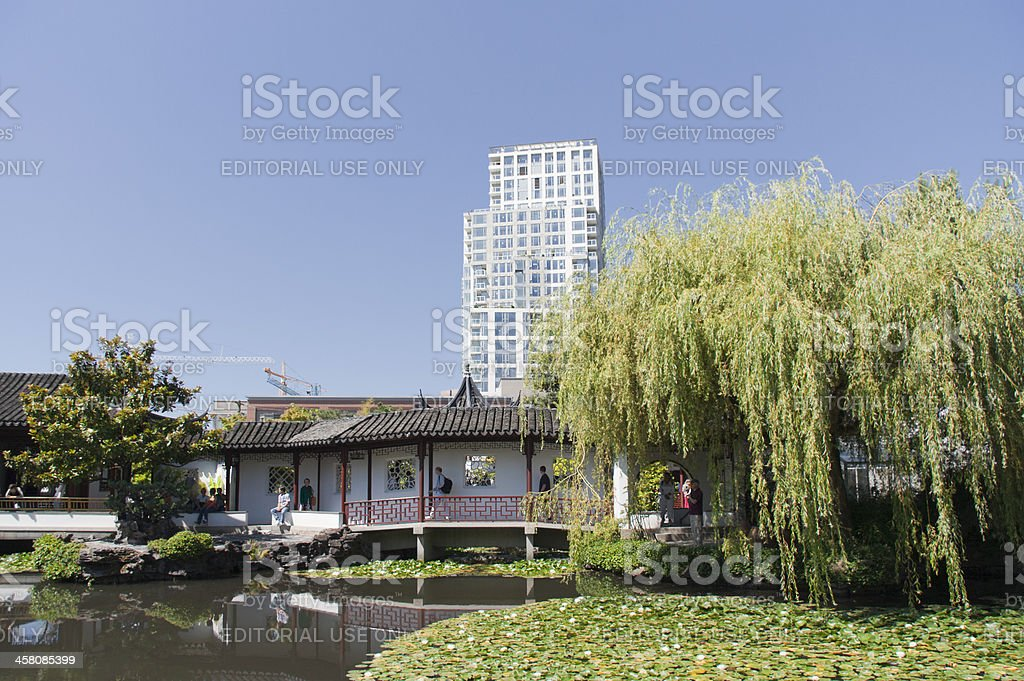 Classical Chinese Garden with Pond in Vancouver, Canada stock photo