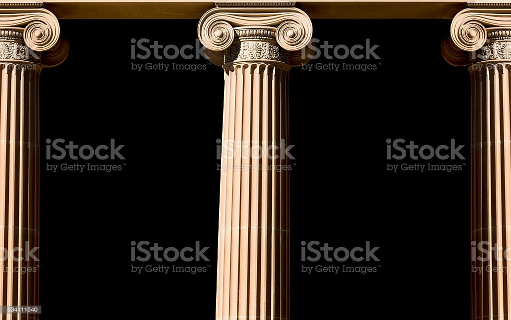 Classical Columns isolated onblack background with copy space stock photo