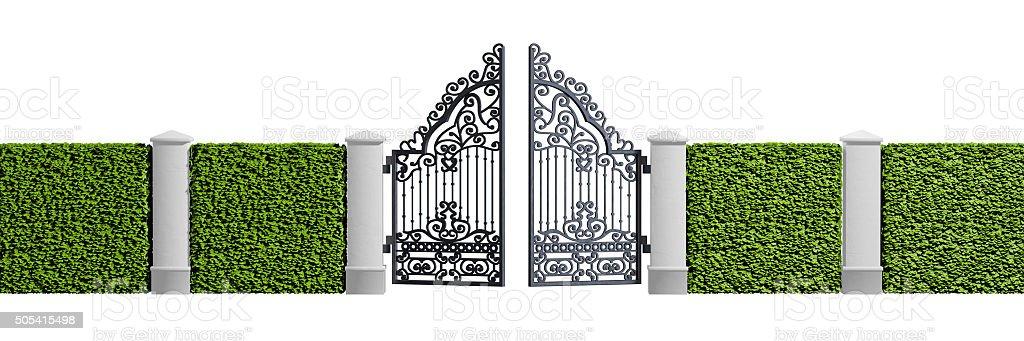 Classical design black iron gate stock photo