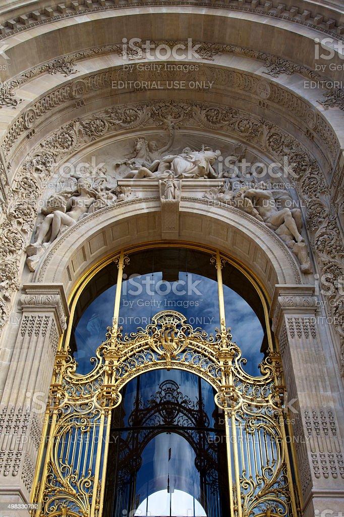Classical doors of the Grand Palais in Paris stock photo