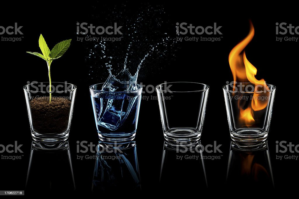 Classical element - Earth Water Air Fire Glass stock photo