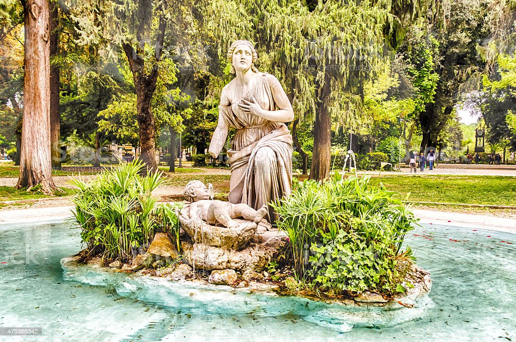 Classical Fountain in Villa Borghese Park, Rome stock photo