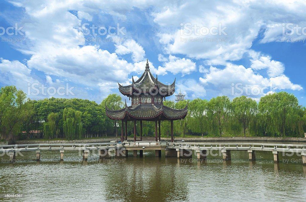 Classical garden in Suzhou (China) in Summer stock photo
