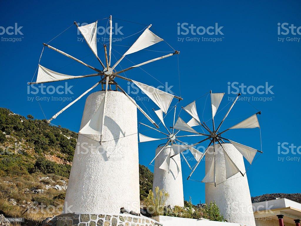Classical Greek Windmills stock photo