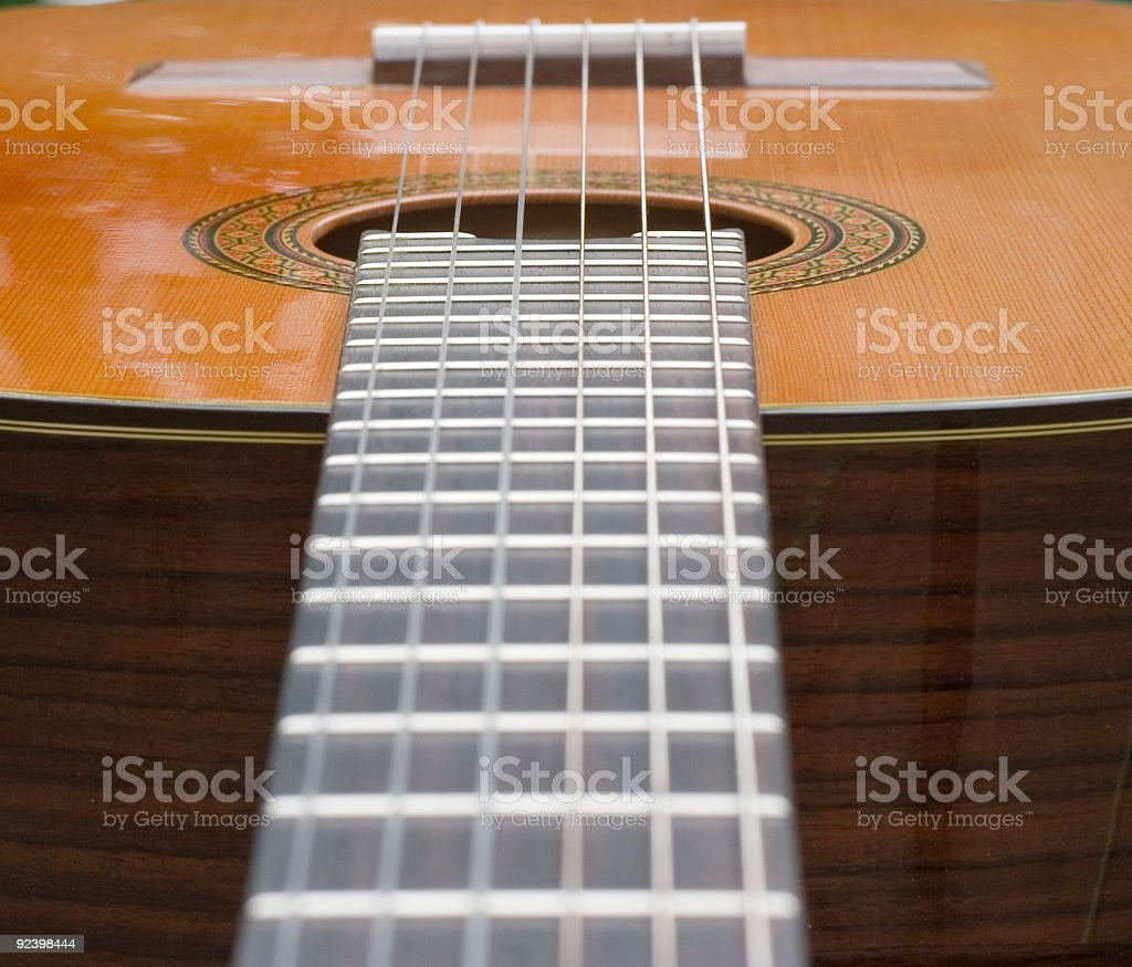Classical Guitar fretboard stock photo