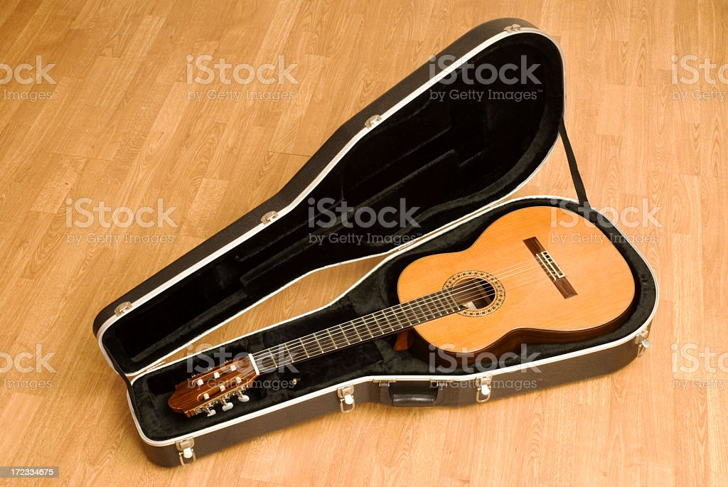 Classical Guitar in a Case stock photo