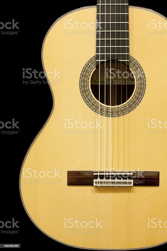 Classical Guitar on Black stock photo